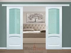 Раздвижная двустворчатая дверь Роксолана Ясень Жемчуг со стеклом