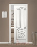 Дверь пенал раздвижная встроенная одностворчатая Эмаль Albertina Bianco patina Argento глухая