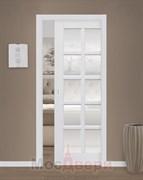 Дверь пенал раздвижная встроенная одностворчатая Эмаль Ornella Bianco со стеклом