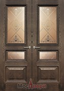 Дверь распашная двустворчатая Брэдли Дуб Шервуд со стеклом