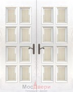 Дверь распашная двустворчатая Атланта Ясень Жасмин со стеклом