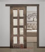 Раздвижная одностворчатая дверь Атланта Дуб Шервуд со стеклом