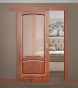 Раздвижная одностворчатая дверь Саманта Лесной орех со стеклом