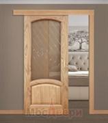 Раздвижная одностворчатая дверь Саманта Античный дуб со стеклом
