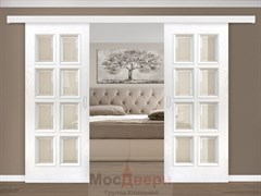 Раздвижная двустворчатая дверь Атланта Ясень Жасмин со стеклом