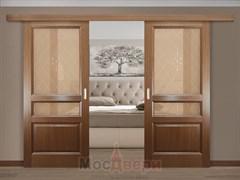 Раздвижная двустворчатая дверь Женева Ясень Дуглас со стеклом