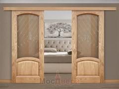Раздвижная двустворчатая дверь Саманта Античный дуб со стеклом