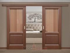 Раздвижная двустворчатая дверь Аламо Венге со стеклом