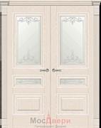 Дверь распашная двустворчатая Клавье Эмаль Ваниль со стеклом