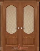 Дверь распашная двустворчатая Криста Дуб Эльдорадо со стеклом