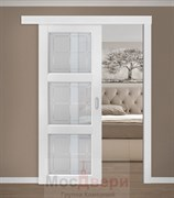Раздвижная одностворчатая дверь Profil 2.27MT Монблан Квадро со стеклом