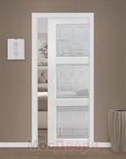 Дверь пенал раздвижная встроенная одностворчатая Profil 2.27MT Монблан Квадро со стеклом