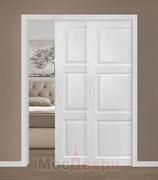 Дверь пенал раздвижная встроенная двустворчатая каскад Profil 2.26MT Монблан глухая