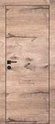Межкомнатная дверь Profil 1ZN Дуб Натуральный глухая с черной алюминиевой кромкой