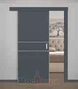 Раздвижная одностворчатая дверь Profil 27E Серый Матовый глухая с матовой алюминиевой кромкой