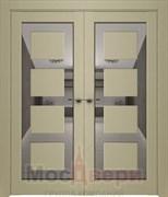 Дверь распашная двустворчатая Profil 2.64RTN Крем LACOBEL Черный лак со стеклом