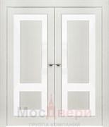 Дверь распашная двустворчатая Profil 2.65RTN Монблан LACOBEL Белый лак со стеклом