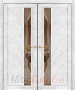 Дверь распашная двустворчатая Profil 5RTM Белый Мрамор со стеклом