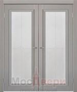 Дверь распашная двустворчатая Profil 24RTK Грей со стеклом
