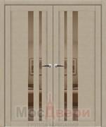 Дверь распашная двустворчатая Profil 69RST Стоун со стеклом