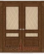 Дверь распашная двустворчатая Агата Мореный дуб со стеклом