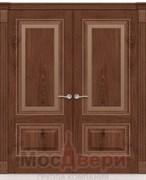 Дверь распашная двустворчатая Адель Дуб Сатин со стеклом
