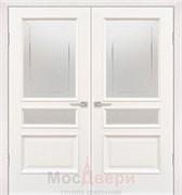 Дверь распашная двустворчатая Вальбон Ясень Жасмин со стеклом