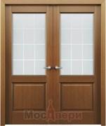 Дверь распашная двустворчатая Лахти Дуб Сатин со стеклом
