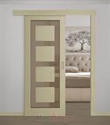 Раздвижная одностворчатая дверь Profil 2.64RTN Крем Зеркало Бронза со стеклом