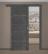 Раздвижная одностворчатая дверь Profil 2.83RTM Черный Мрамор со стеклом
