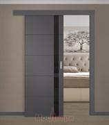Раздвижная одностворчатая дверь Эмаль Aviano Carbone со стеклом