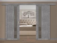 Раздвижная двустворчатая дверь Profil 5RTM Серый Мрамор со стеклом